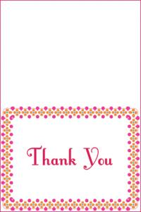 pink polka dot thank you card