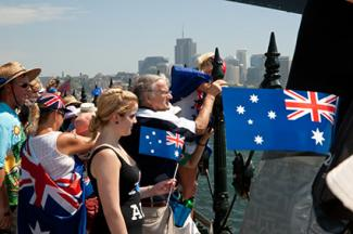 Flags being waved on Australia Day, Sydney