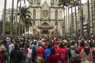 Corpus Christi celebration in front of Sé Cathedral - Sao Paulo, Brazil
