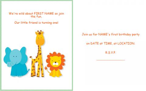 Animal 1st birthday invitation