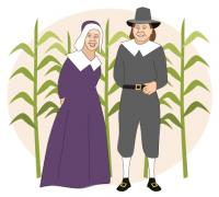 pilgrim couple and cornfield