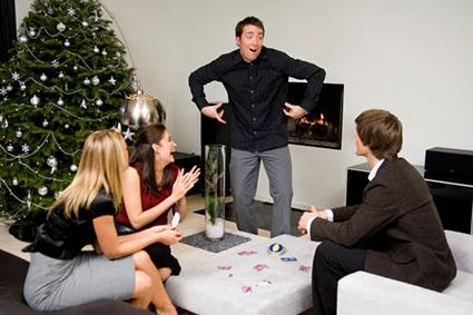 Friends playing charades