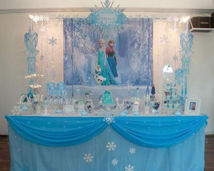 Frozen party dessert table