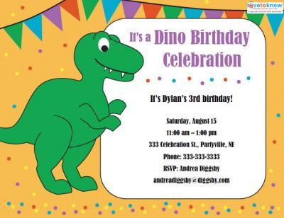 Click to download the cute dinosaur invite.
