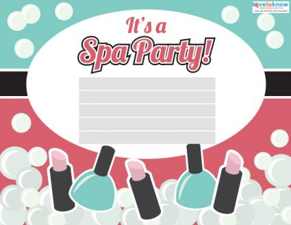 spa party invitations, Party invitations