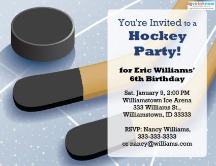 Printable Hockey Party Invitations LoveToKnow - Free birthday invitation templates hockey