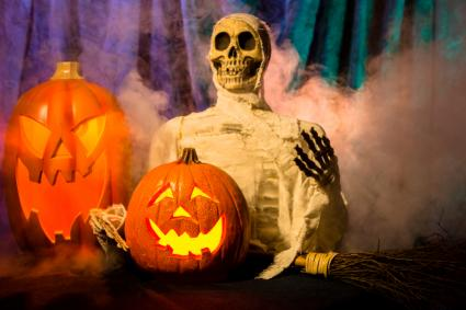 zombie with jack o'lantern