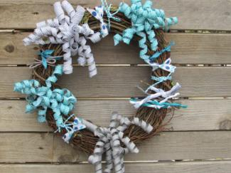 Grapevine wreath with ribbon
