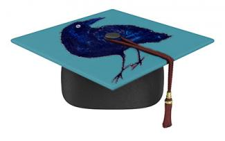 Painted raven graducation cap
