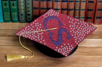 Graduation cap with bling rhinestones