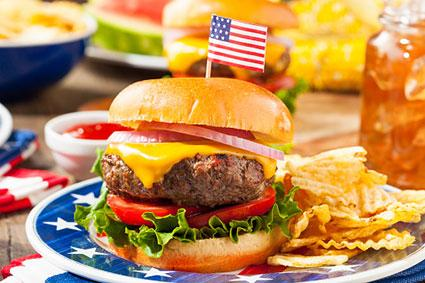 Patriotic hamburger at picnic