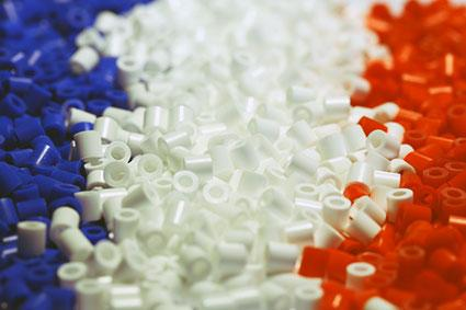 Red, white and blue beads