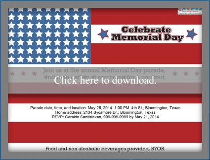 Customizable Memorial Day Party Invitation