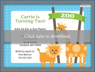Zoo Birthday Invitation Template 1