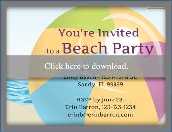 beach ball invitation
