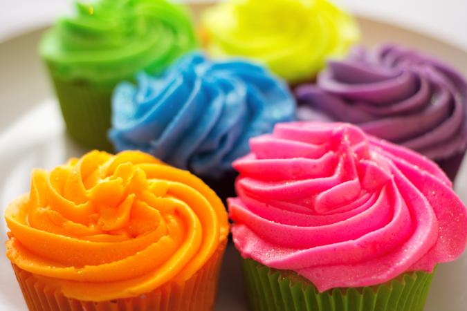 Multicolored cupcakes