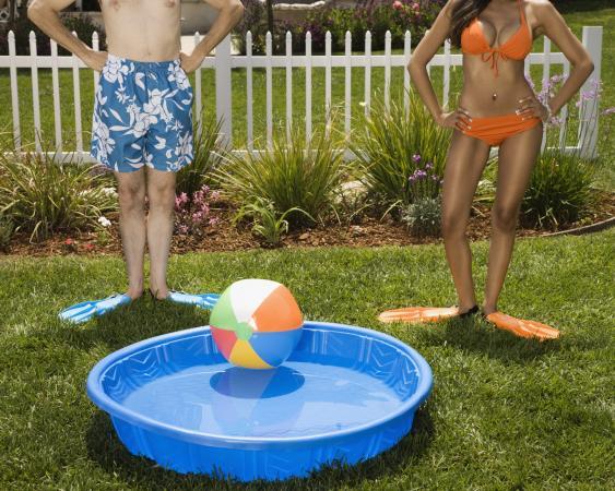 Couple next to kiddie pool