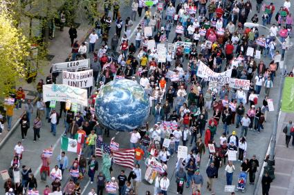 People marching in downtown Seattle on May 1, 2008.