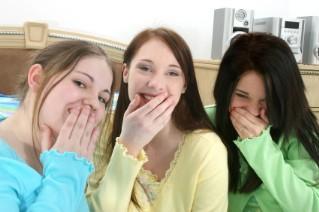 teens at a slumber party