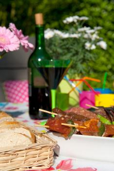 Food and decorations for a barbeque party
