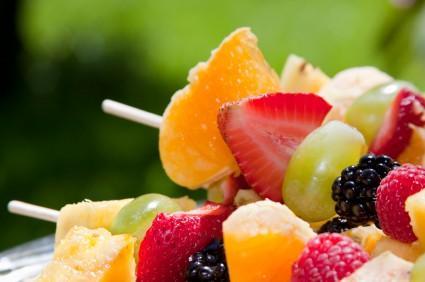 Kabobs of fresh fruit