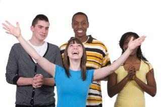 girl raising arms in praise