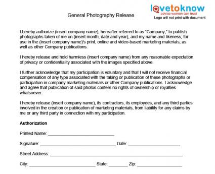 Photographer Release Form Pet Photography Model Release Form Sample