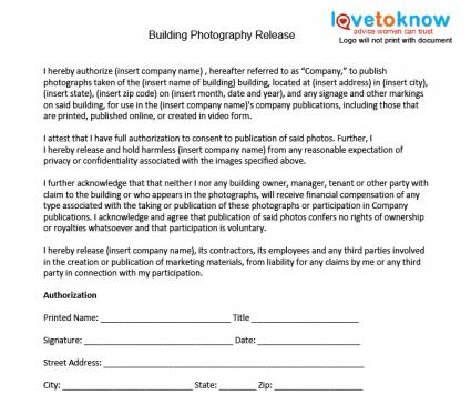 Photography Release Forms – Parents Consent Letter for Work