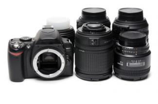 DSLR camera with lens
