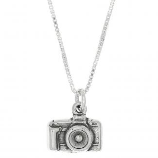 Sterling Silver Camera Charm Pendant with Polished Box Chain Necklace