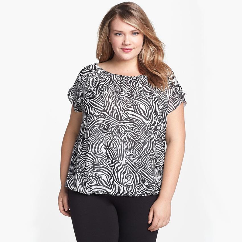 Zebra Print Plus Size Blouse 4