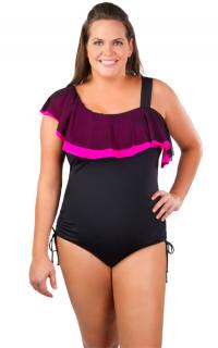 Underwire One-Piece Double Ruffle One-Shoulder Suit from Swimsuits Just for Us