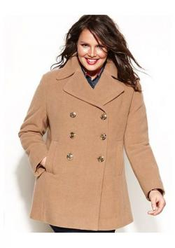 Kenneth Cole Reaction Plus Size Double-Breasted Wool-Blend Pea Coat