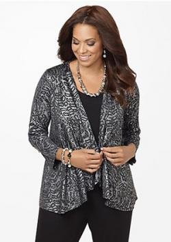 Catherines Fiery Duet plus size animal print cardigan