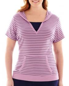 Made For Life Short-Sleeve Striped Hoodie Pullover