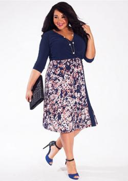 Taylor Plus Size Dress in Indigo Flower