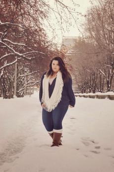 Woman wearing leg warmers