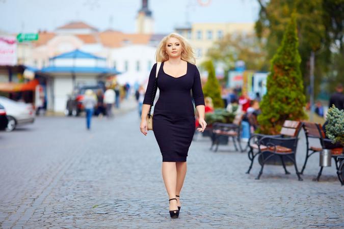 Plus size woman out shopping