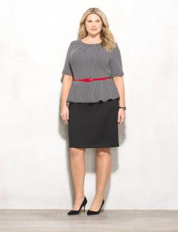 Plus Size Belted Polka-Dot Peplum Dress