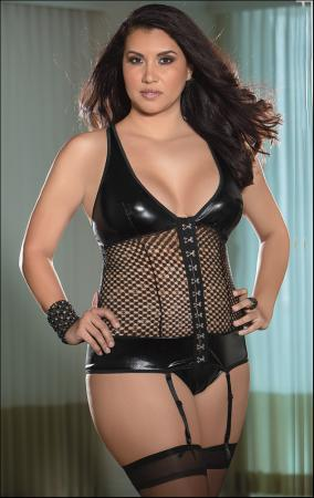 Plus Size Bustier, G-String & Stockings Set