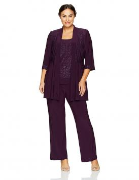R&M Richards Plus Size Two Piece Glitter and Lace Pant Set