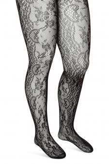 Black Floral Lace Pantyhose