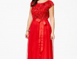 Plus Size Sequin-Lace Draped Gown