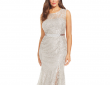 Betsy & Adam Plus Size Metallic Lace Pleated Gown