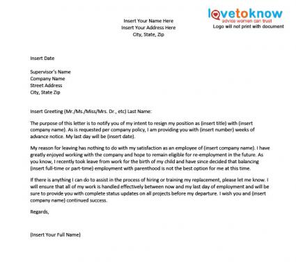 Template for a Resignation Letter After Maternity Leave – Letter of Resignation Sample