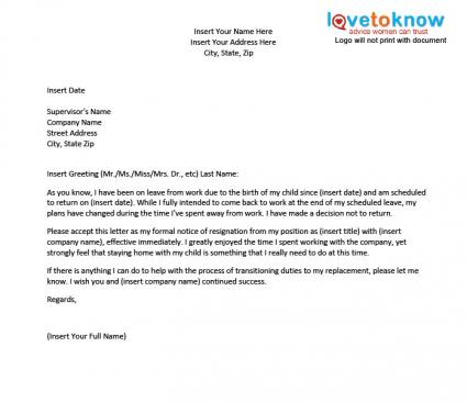 Template for a Resignation Letter After Maternity Leave – Sample Letter of Resignation Template