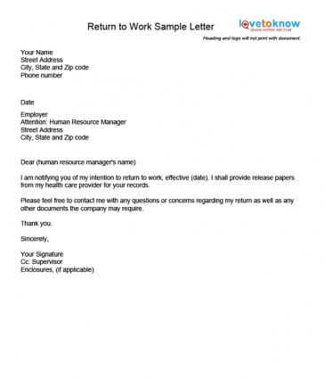 Examples of a return to work letter for Sample cover letter for returning to work moms