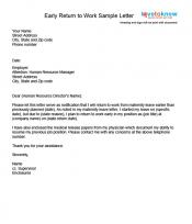 Examples of a return to work letter for Going back to work after maternity leave letter template