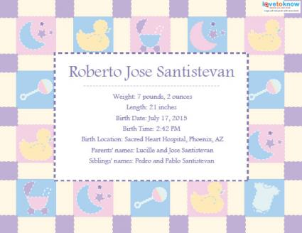 Printable birth announcements lovetoknow for Printable birth announcements