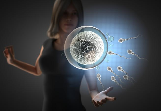 Woman and hologram with reproduction
